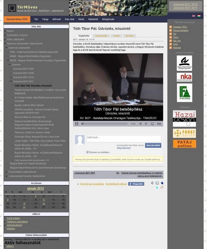 TérMűves - Cikk (videó) oldal